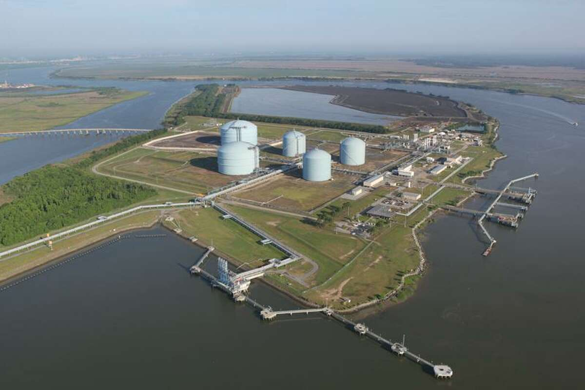 Aerial photo of Kinder Morgan's Elba Island LNG export terminal near Savannah, Georgia. Houston pipeline operator Kinder Morgan sent out its first liquefied natural gas cargo from the facility on Friday.