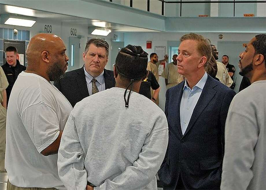Gov. Ned Lamont visited the Cheshire Correctional Institute on Monday. Photo: Andrius Banevicius / Connecticut Department Of Correction