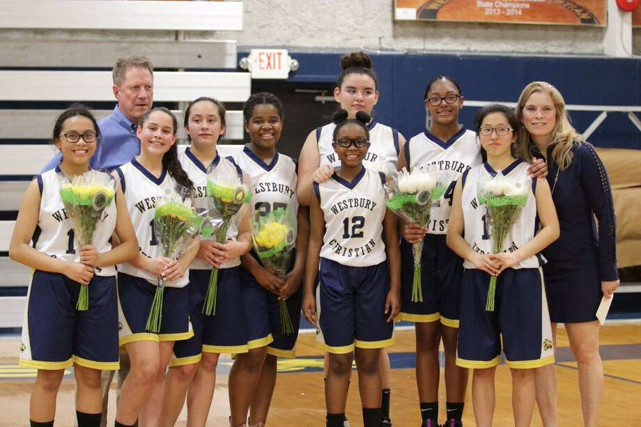 The Westbury Christian middle school girls basketball team won every game but one this season to finish as conference champions for 2019 in the Greater Houston Athletic Conference (GHAC). Pictured are Kiley Surles, Coach Steve Hawley, Piper Chance, Faith Jonesia, Mia Blackburn, Lexi Kunetka, Makayla Gholar, Kaylin Daniels, Nicole Jih and Assistant Coach Deb Watson. Photo: Westbury Christian School / Westbury Christian School