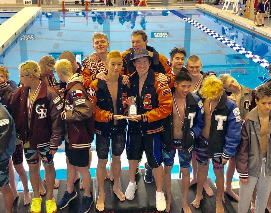 Seven Lakes, Cinco Ranch and Katy Taylor finished first, second and third in the Region V-6A boys 400-yard freestyle relay. All three qualified for the state championships, scheduled for Feb. 15-16 in Austin. Photo: Katy ISD Athletics / Katy ISD Athletics