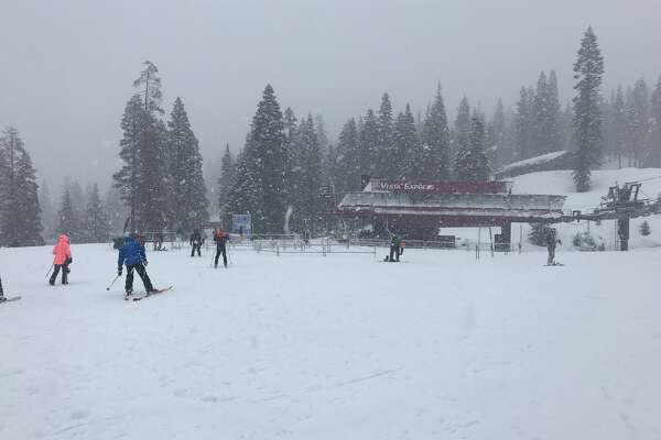 Snow piles up at Northstar California Resort on Feb. 2, 2019. The resort had received 18 inches of snow in 24 hours.