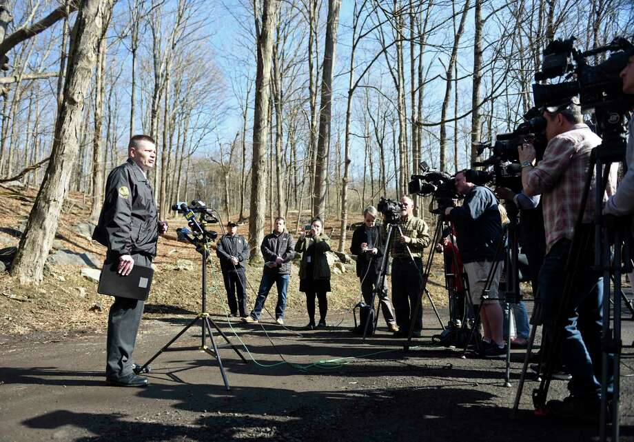 Greenwich Police Capt. Robert Berry addresses the media after a body was found in the Glenville section of Greenwich, Conn. the morning of Tuesday, Feb. 5, 2019. According to police, a town worker found the bound body of a female between the ages of 18 and 30 just off of Glenville Road near the intersection with Stillman Lane. Photo: Tyler Sizemore / Hearst Connecticut Media / Greenwich Time