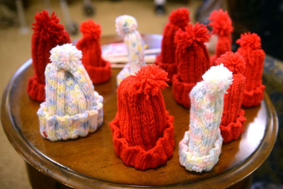 """Middlebrooks Farms, in Trumbull, Conn. hosted a """"Little Hats, Big Hearts"""" event starting Jan. 31, 2019. Residents of the facility gathered together to knit hats for babies born with life threatening congenital heart defects. Their goal is to make 100 hats, over the next month, that will be donated to local hospitals. Photo: Ned Gerard / Hearst Connecticut Media / Connecticut Post"""
