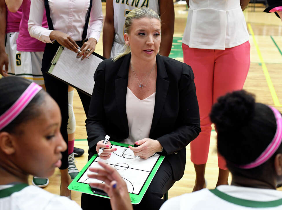 Siena head coach Ali Jaques instructs her players against Marist during the first half of an NCAA women's college basketball game Friday, Feb. 1, 2019, in Loudonville, N.Y.
