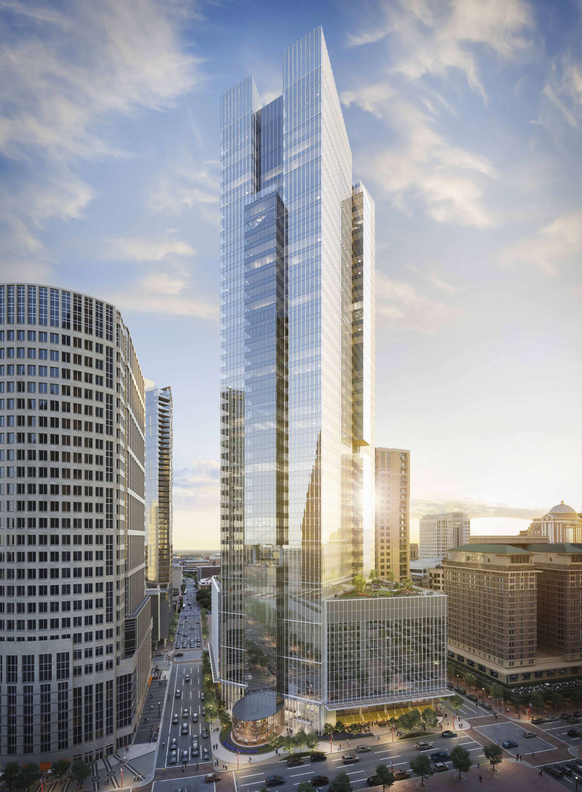 A rendering of Pelli Clarke Pelli's design of Hines' Texas Tower on the 800 block of Texas Avenue.