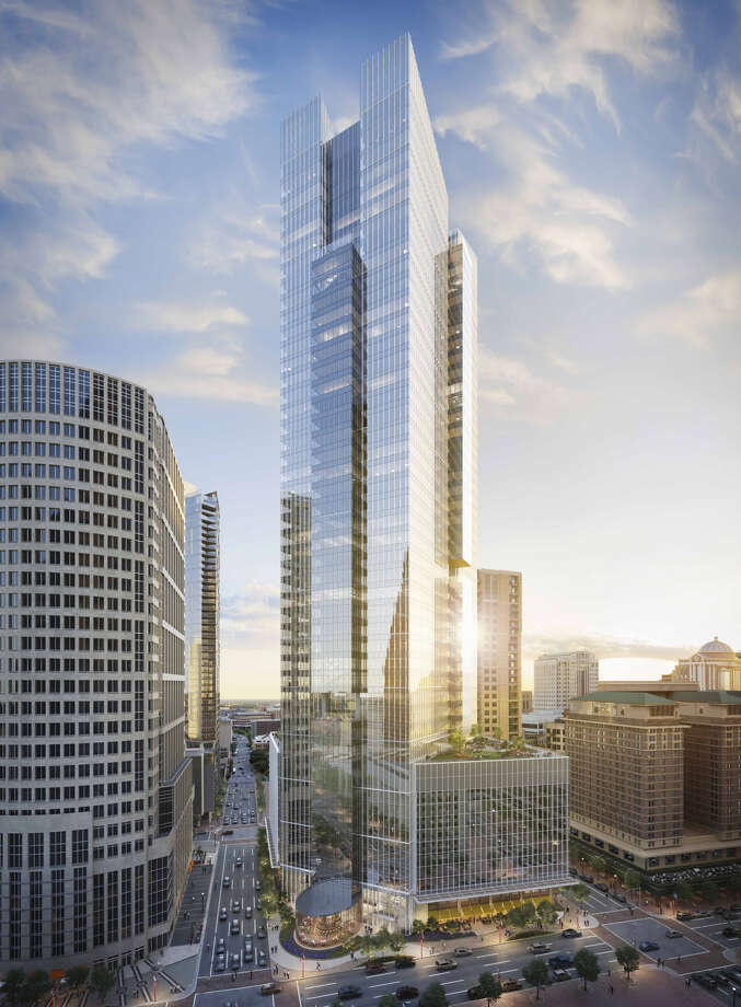 A rendering of Pelli Clarke Pelli's design of Hines' Texas Tower on the 800 block of Texas Avenue. Photo: Rendering By Steelblue