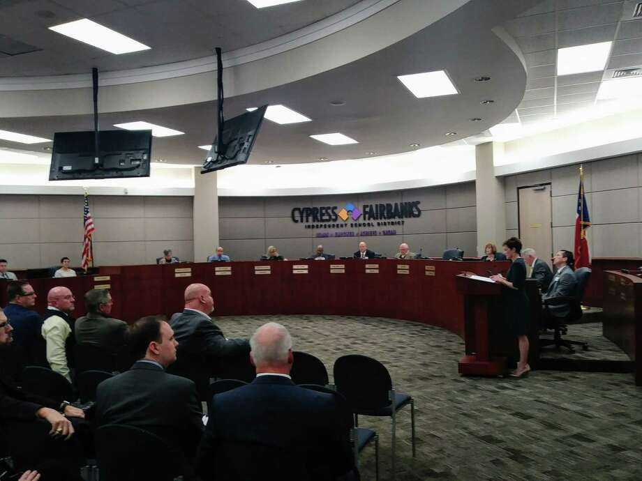 PHOTOS: Top school districts Julie Hinaman, community co-chair for the Long-Range Planning Committee presents the group's recommendations to the CFISD Board of Trustees during a special session on Feb. 4, 2019.>>>See more for the best school districts in the Houston area for 2019.... Photo: Chevall Pryce