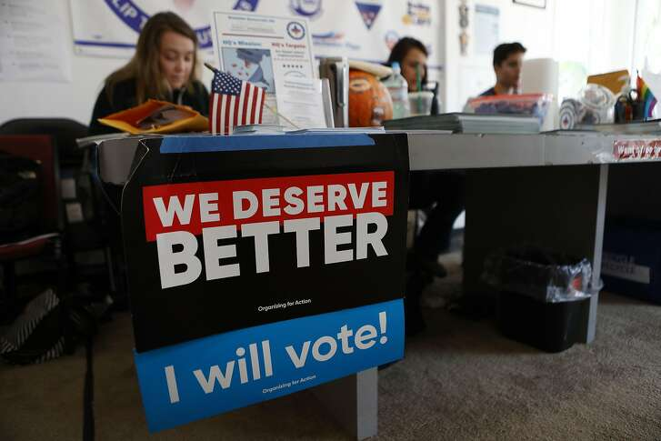 LOS ANGELES, CA - NOVEMBER 03:  Democratic supporters work at a phone bank event at the Westside Democratic Headquarters on November 3, 2018 in Los Angeles, California. Democrats are targeting at least six congressional seats in California, currently held by Republicans, where Hillary Clinton won in the 2016 presidential election. These districts have become the centerpiece of their strategy to flip the House and represent more than one-fourth of the 23 seats needed for the Democrats to take control of the chamber in the November 6 midterm elections.  (Photo by Mario Tama/Getty Images)