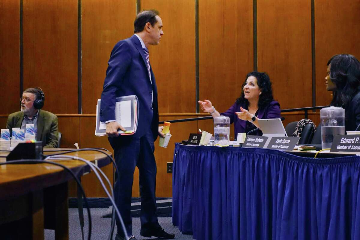 New York State Department of Health Commissioner Howard Zucker, left, talks with Senator Diane Savino after Zucker finished testifying before the New York State Legislature joint budget hearing on health / medicaid, on Tuesday, Feb. 5, 2019, in Albany, N.Y. (Paul Buckowski/Times Union)