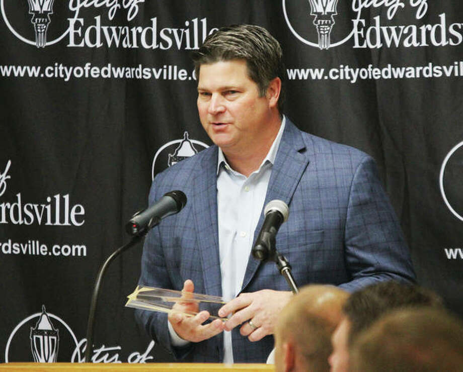 Contegra Construction President Eric Gowan speaks after accepting the 2018 Business of the Year Award presented at the city of Edwardsvilles annual Business Forecast Breakfast, held Tuesday morning at Lewis and Clark Community Colleges N.O. Nelson Campus. Photo: Scott Cousins | The Telegraph