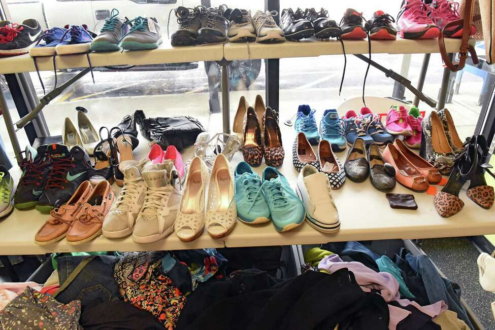 Shoes are seen on shelves at Plato's Closet on Tuesday, Feb. 5, 2019 in Albany, N.Y. (Lori Van Buren/Times Union)