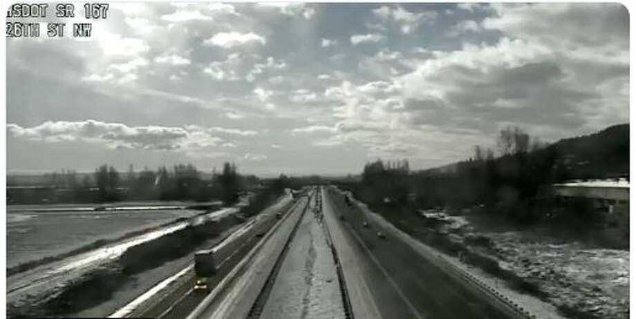 Icy road conditions, as seen from a Washington State Department of Transportation camera Tuesday. Photo: Courtesy WSDOT