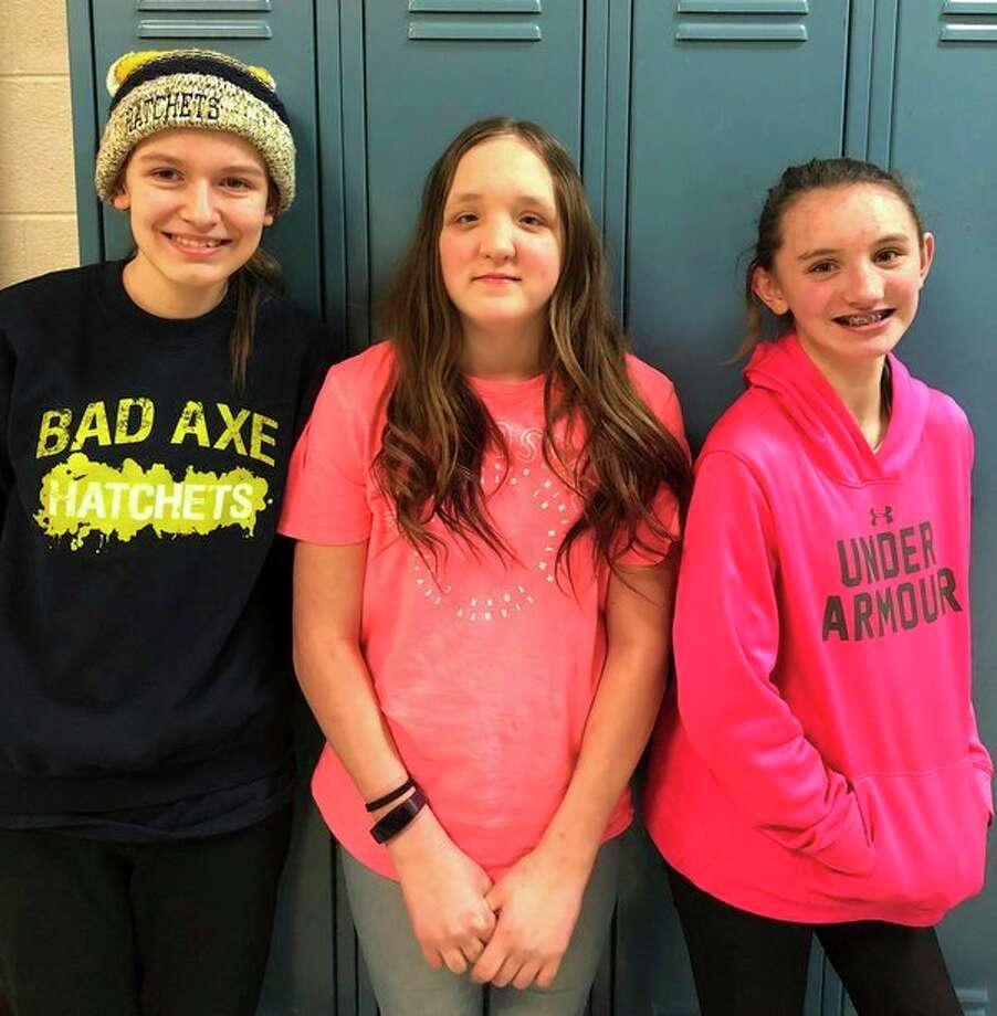 Ellen Miller, McKenzie Melnik and Dakota Robles from Bad Axe Schools took part in the National Geography Bee that took place at Bad Axe High School recently. (Submitted Photo)