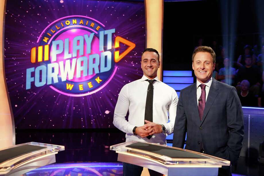"""In a handout photo, Collin Myers, a meteorologist at Houston's KTRK-TV, stands alongside Chris Harrison, the host of """"Who Wants to be a Millionaire"""". Myers will be playing for the big prize on Feb. 22, 2019 Photo: ABC / ©2017 Disney ABC. All Rights Reserved."""