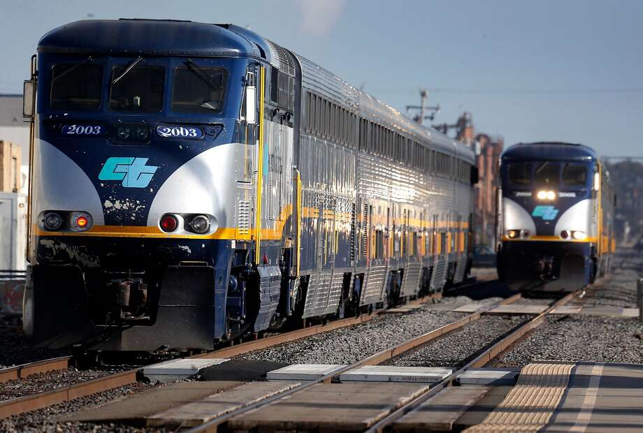 Amtrak's Capitol Corridor and BART trains could build a set of tracks crossing over or under the bay if the idea in the works ever comes to fruition. Photo: Paul Chinn / The Chronicle 2018