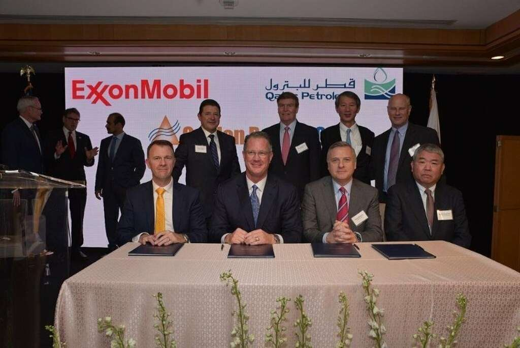 Executives with McDermott International, ExxonMobil, Zachry Group and Chiyoda International after signing a Tuesday morning construction deal for the Golden Pass LNG export terminal project near Port Arthur.