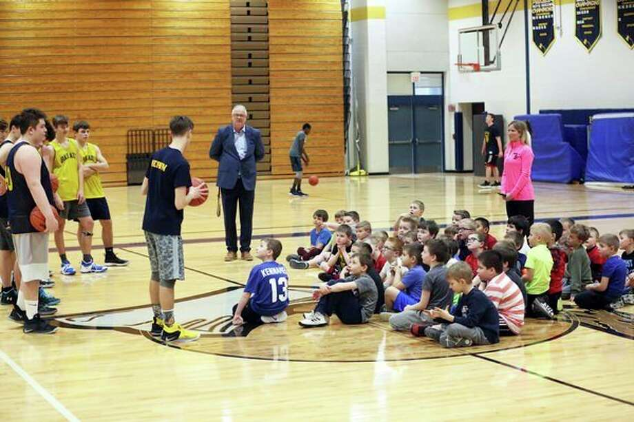 Bad Axe elementary students in kindergarten through second grades took part in a youth basketball camp over the past month. This week, the group got to practice with the Bad Axe varsity team. (Seth Stapleton/Huron Daily Tribune)