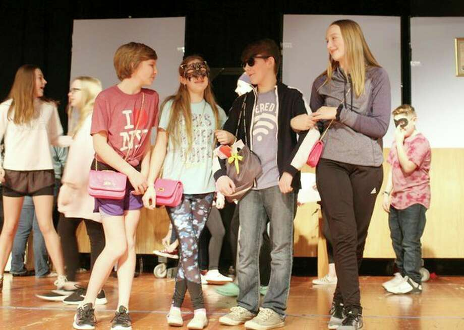Laker Junior High theater students practice their one act play 'Masks.' (Submitted Photo)
