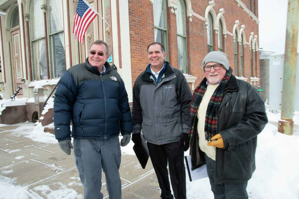 The Ballston Spa Republican Committee endorsed, from left, Larry Woolbright, Peter Martin and Rory O'Connor, for mayor and trustees, respectively. (Fred Morton/Ballston Spa Republican Committee).