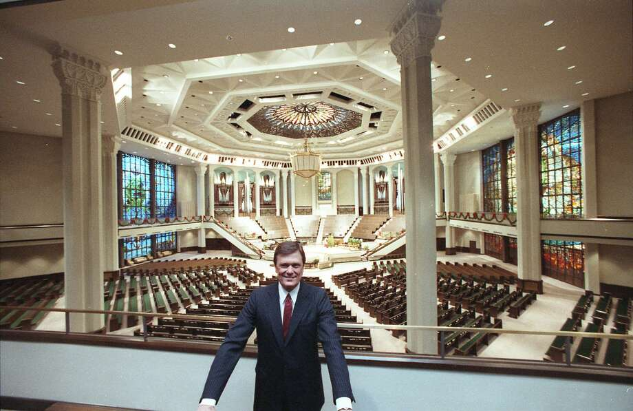 In this 1986 file photo, Dr. Ed Young stands in front of a new worship center at Houston's Second Baptist Church. Young in the 1990s served as president of the Southern Baptist Convention. Photo: John Van Beekum
