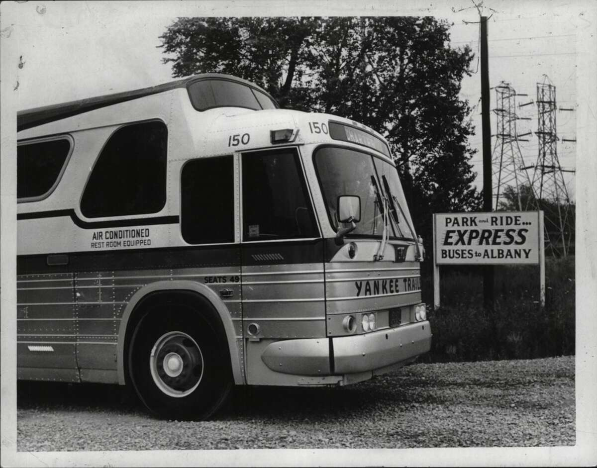 A Yankee Trails charter bus in Albany in July of 1970.