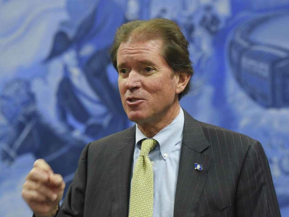 Former state Sen. Scott Frantz speaks in Greenwich in January. Photo: Tyler Sizemore / Hearst Connecticut Media / Greenwich Time
