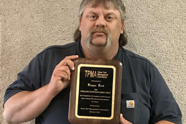 Blayne Reed, who serves Hale, Swisher and Floyd Counties as an Integrated Pest Management extension agent for the Texas A&M AgriLife Extension Service, was named the top IPM Agent in the state.