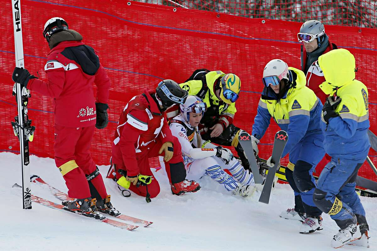 ARE, SWEDEN - FEBRUARY 5: Lindsey Vonn of USA crashes out during the FIS World Ski Championships Women's Super G on February 5, 2019 in Are Sweden. (Photo by Alexis Boichard/Agence Zoom/Getty Images)