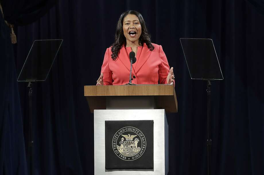 San Francisco Mayor London Breed delivers the state of the city address in San Francisco, Wednesday, Jan. 30, 2019. Breed swiped at the White House in her first state of the city address, saying that the city would protect transgender and immigrant rights. (AP Photo/Jeff Chiu) Photo: Jeff Chiu / Associated Press