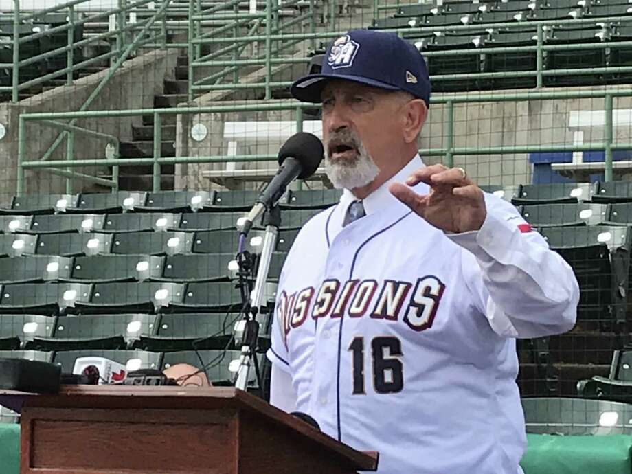 New San Antonio Missions manager Rick Sweet speaks during his introductory news conference on Tuesday at Wolff Stadium. Photo: Greg Luca /San Antonio Express-News
