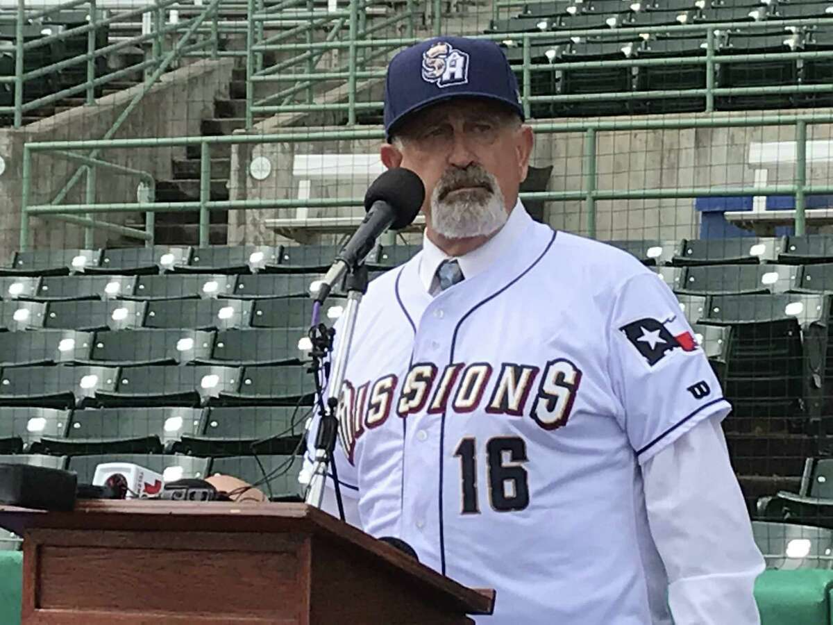 New San Antonio Missions manager Rick Sweet speaks during his introductory news conference on Tuesday at Wolff Stadium.
