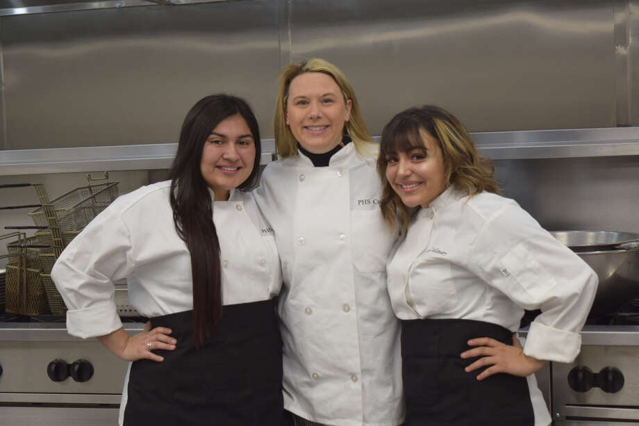 Jaylynn Rosas, and Mariah Gomez, both sophomores, stand with Jennifer Scarborough in Plainview ISD's new state-of-the-art commercial kitchen. Photo: Ellysa Harris/Plainview Herald