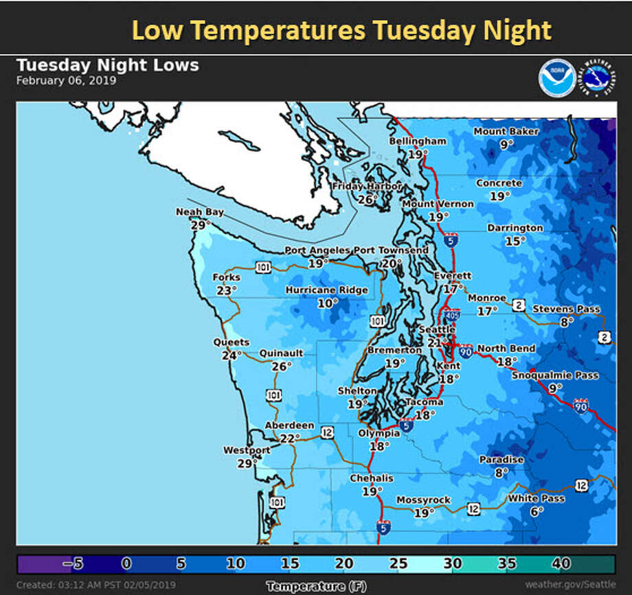 Overnight temperatures around Western Washington will be in the low 20s to teens, with some higher elevations seeing temps below 10 degrees. More snow could arrive later in the week as well. Photo: NOAA