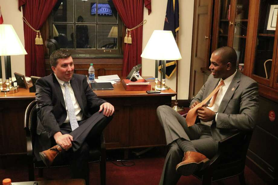 Hoosick Falls resident Michael Hickey in the Washington D.C. office of U.S. Rep. Antonio Delgado prior to being a part of the State of the Union address on Tuesday, Feb. 5, 2019. Photo: Beverly Banks, Hearst Newspapers