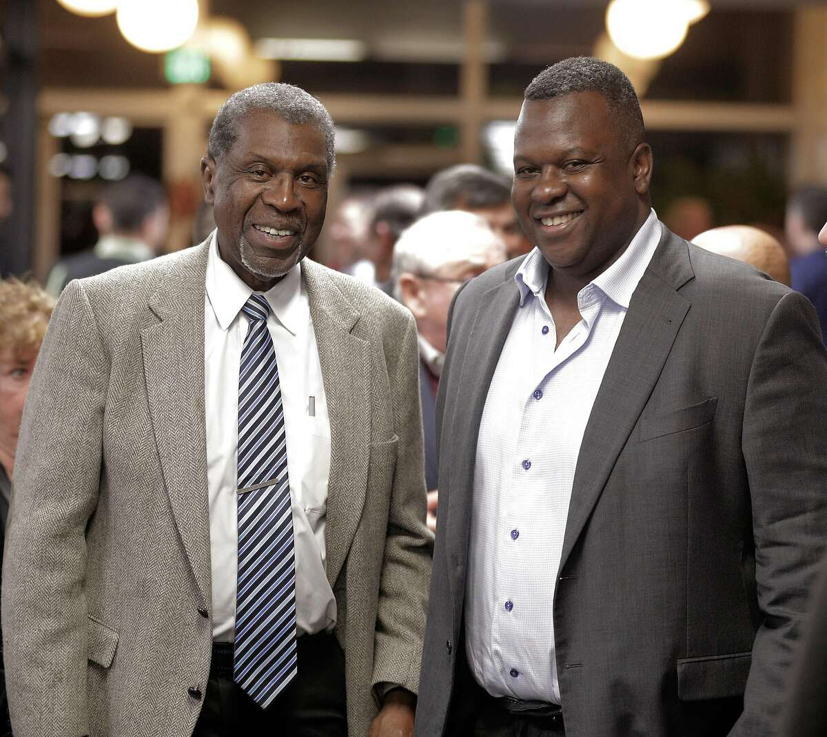 A's assistant GM Billy Owens with his father, Levi Owens, left, at the annual Santa Clara County Hot Stove dinner, in San Jose, Calif., on Tuesday, January 15, 2019. Owens is a rising star among baseball execs and he's one of the best minority GM candidates in the game.
