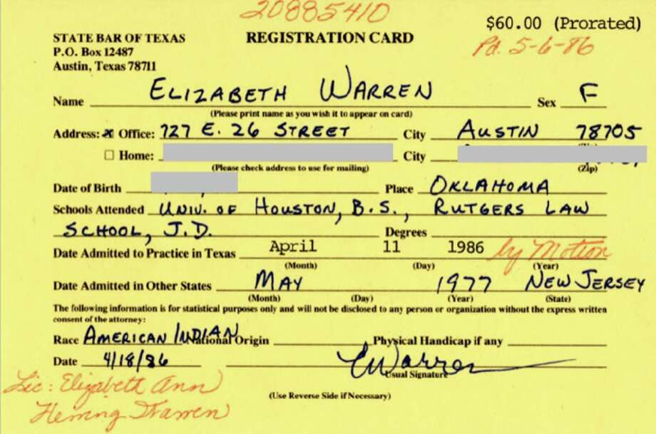 "The Washington Post obtained Elizabeth Warren's registration card for the State Bar of Texas, providing a previously undisclosed example of Warren identifying as an ""American Indian."" Photo: The Washington Post"