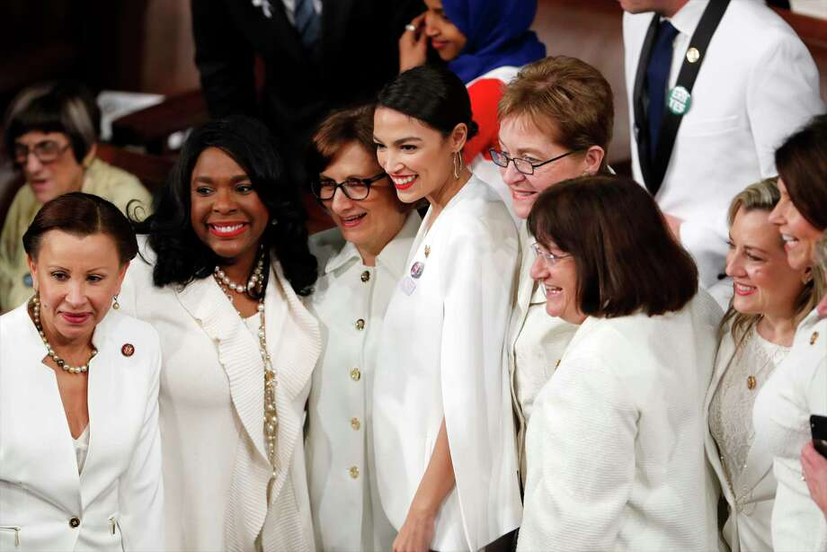 Democratic members of Congress, including Rep. Alexandria Ocasio-Cortez, D-N.Y., center, pose for a photo before President Donald Trump delivers his State of the Union address to a joint session of Congress on Capitol Hill in Washington, Tuesday, Feb. 5, 2019. Photo: J. Scott Applewhite, AP / Copyright 2019 The Associated Press. All rights reserved