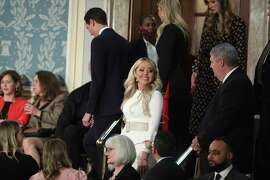 Tiffany Trump, front center, arrives to hear President Donald Trump deliver his State of the Union address to a joint session of Congress on Capitol Hill in Washington, Tuesday, Feb. 5, 2019.