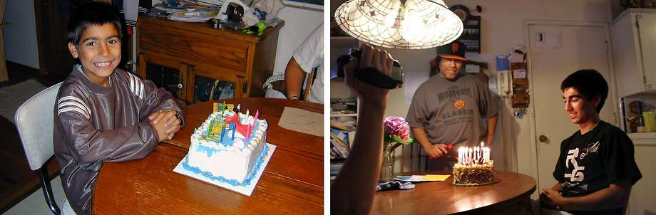 Left: Kyle Gamboa, 9, smiles for his birthday at his home in Fair Oaks (Sacramento County) on June 23, 2004. Right: Kyle celebrates his 18th birthday, his last, with his family at their home with his older brother Manuel III (left), 20, filming, while their father, Manuel Jr., smiles in the background and his mother, Kymberlyrenee, takes this photo. Photo: Courtesy Gamboa Family