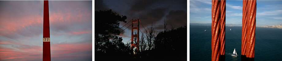 Light pole 77, left, where Kyle Gamboa, 18, jumped to his death on Sept. 20, 2013. The Golden Gate Bridge, center, is lit up as evening falls in San Francisco. The Golden Gate Bridge, right. Photo: Liz Moughon / The Chronicle