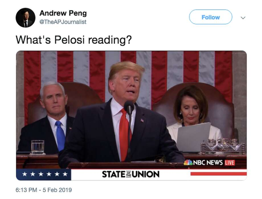 Nancy Pelosi was reading something during Trump's State of the Union address, and Twitter users had questions. Photo: Twitter