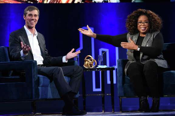 NEW YORK, NEW YORK - FEBRUARY 05: Beto O'Rourke and Oprah Winfrey speak onstage at Oprah's SuperSoul Conversations at PlayStation Theater on February 05, 2019 in New York City. (Photo by Jamie McCarthy/Getty Images)