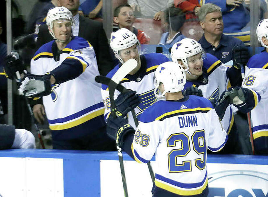 Blues defenseman Vince Dunn (29) is congratulated after scoring the game-winning goal in the third period of Tuesday night's game against the Florida Panthers in Sunrise, Fla. Photo: AP Photo