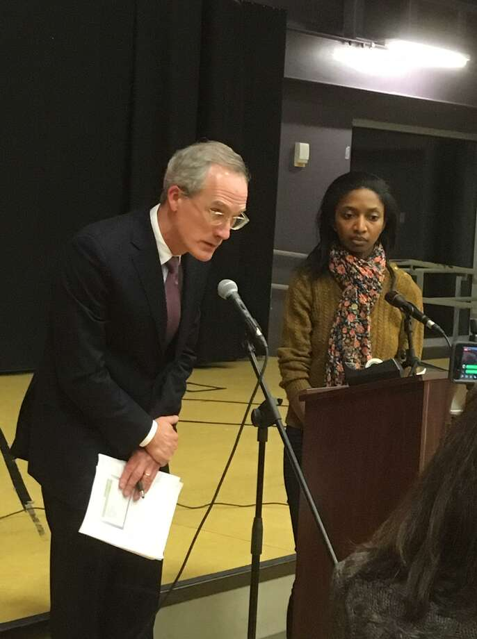 City Council members Pete Spain and Christina Smith address a community forum held at Black Rock School. Jan. 16, 2019 Photo: Linda Conner Lambeck