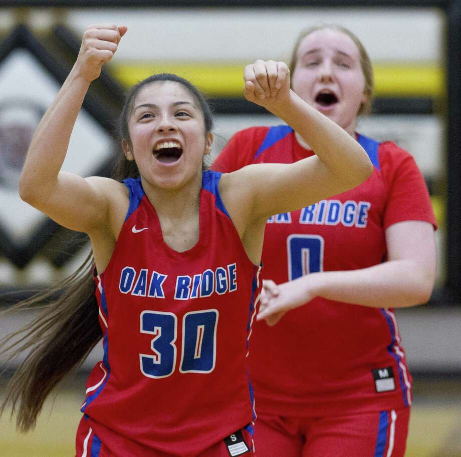 Oak Ridge point guard Alyssa Gonzales (30) reacts beside guard Grace Roberts (0) after defeating Conroe 55-43 during a District 15-6A high school basketball game at Conroe High School, Tuesday, Feb 5, 2019, in Conroe. Photo: Jason Fochtman, Houston Chronicle / Staff Photographer / © 2019 Houston Chronicle