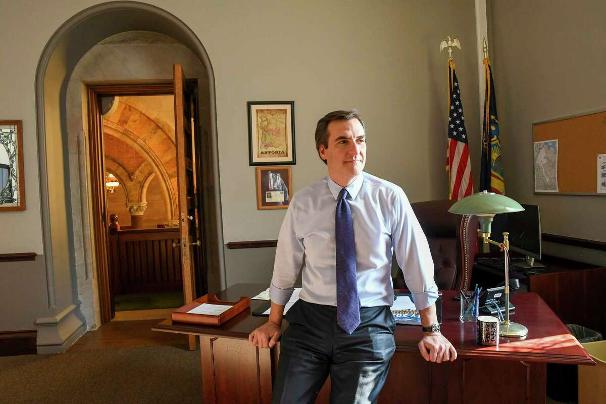 Michael Gianaris, the deputy majority leader of New York?s State Senate, in his office in New York, Feb. 5, 2019. Gianaris is a critic of the Amazon deal, and has been nominated to sit on a state board that could kill it. (Cindy Schultz/The New York Times)