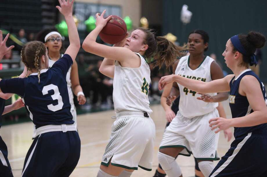 Action from the East Haven vs. Hamden girls basketball game at Hamden High School on February 5, 2019. Photo: Arnold Gold / Hearst Connecticut Media / New Haven Register