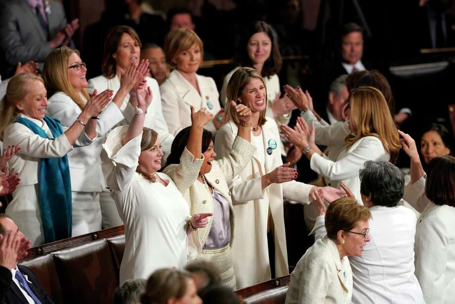 Members of Congress cheer after President Donald Trump acknowledges more women in Congress during his State of the Union address to a joint session of Congress on Capitol Hill in Washington, Tuesday, Feb. 5, 2019. Photo: Carolyn Kaster, AP / Copyright 2019 The Associated Press. All rights reserved