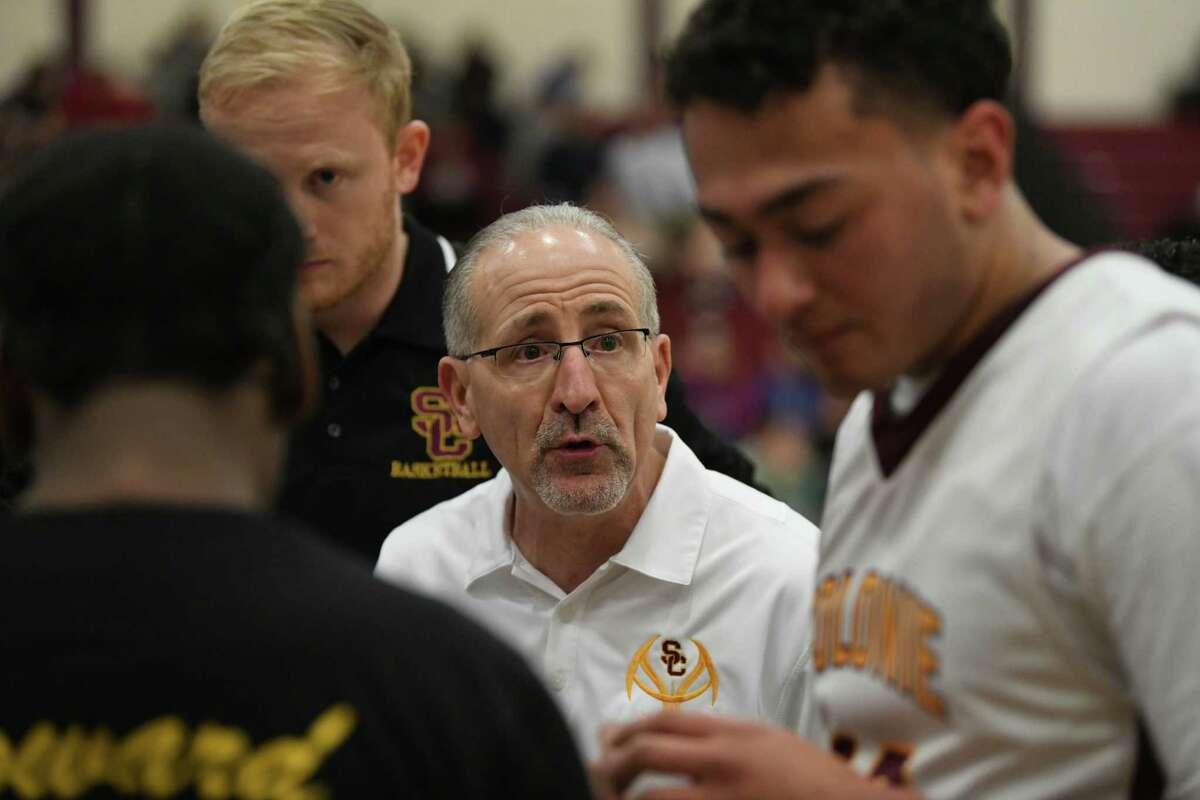 Colonie head coach Ken Dagostino talks to his players during a basketball game against Saratoga on Tuesday, Feb. 5, 2019 in Colonie, N.Y. (Lori Van Buren/Times Union)
