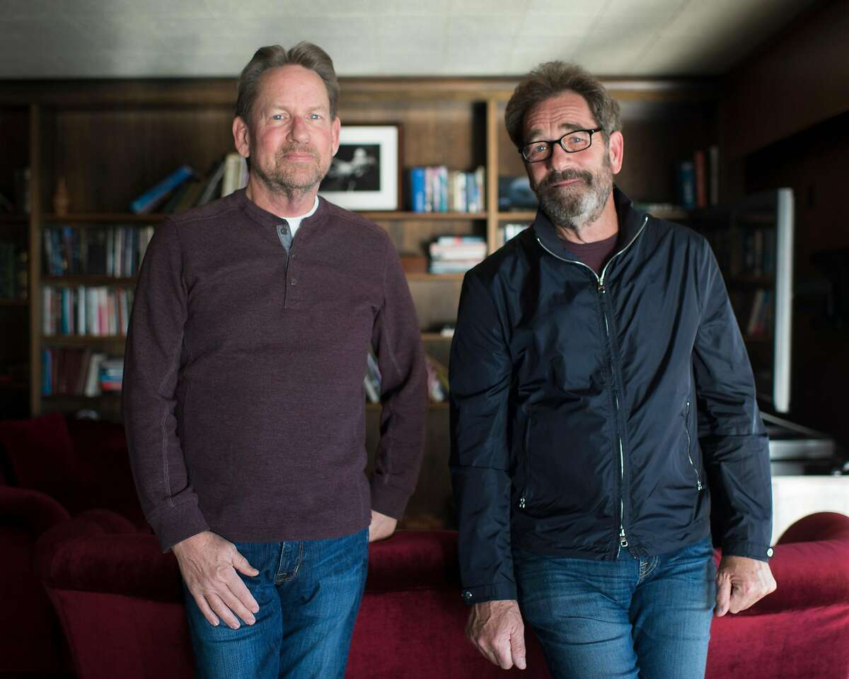 Musician Huey Lewis (right) and his longtime friend and drummer Bill Gibson in Pebble Beach, Calif. on Feb. 5, 2019.